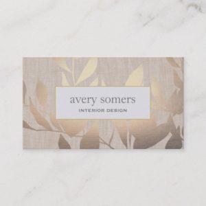 Elegant Gold Leaves Modern Interior Design Beige Business Card