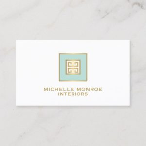 Elegant Mint/Gold Greek Key Design Business Card
