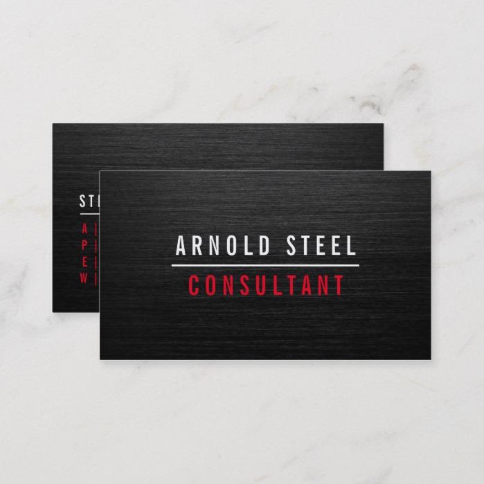 Elegant modern black metal professional plain business card