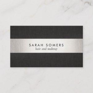 Elegant Modern Black Silver Striped Professional Business Card
