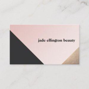 Elegant Modern Gold, Black and Pink Geometric Business Card