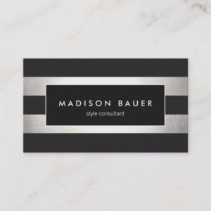 Elegant Modern Striped Black FAUX Silver Foil Business Card