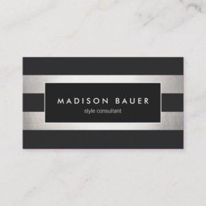 Elegant Modern Striped Black FAUX Silver Foil Business Card