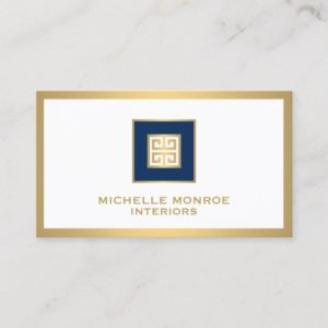 Elegant Navy Blue/Gold Border Greek Key Designer Business Card