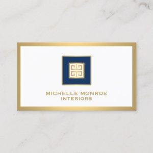 Elegant Navy Blue/Gold Border Greek Key Designer Business Card