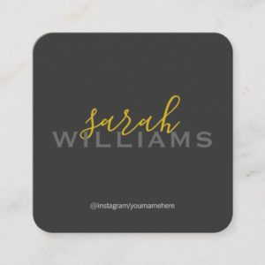 Elegant Professional Cursive / Gray Square Business Card