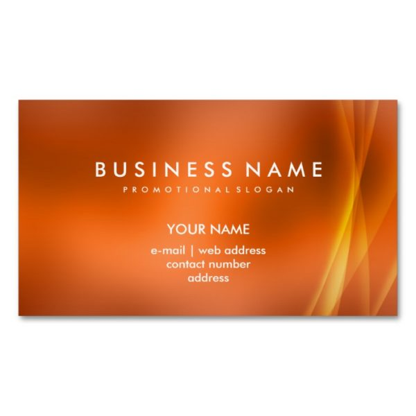 Elegant Professional Modern Abstract Orange Magnetic Business Card