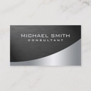 Elegant Professional Modern Plain Metal Silver Business Card