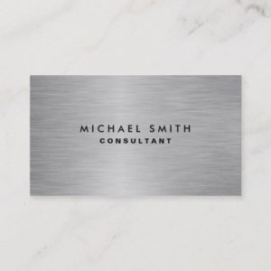 Elegant Professional Modern Silver Metal Plain Business Card