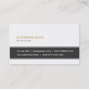Elegant Professional Plain Simple White Fashion Business Card