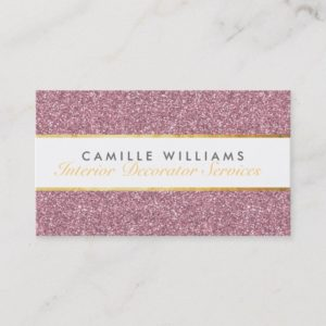 ELEGANT sparkly glamorous gold foil glitter pink Business Card