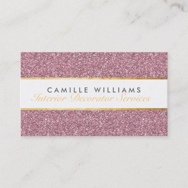ELEGANT sparkly glamorous gold foil glitter pink Business Card