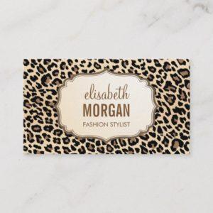 Elegant Stylish Leopard Print Girly Pattern Business Card
