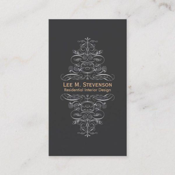 Elegant Vintage Designer Chic Black Swirl Business Card