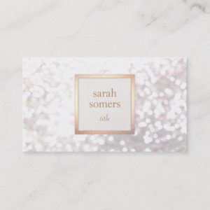 Elegant White Bokeh Glitter Chic Gold Plaque Business Card