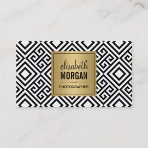 Event Photographer - Modern Abstract Gold Logo Business Card