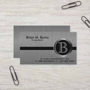 Executive Black Brush Steel Monogram Business Card