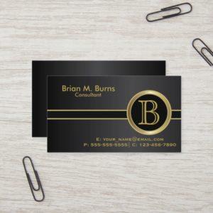 Executive Classic Black Monogram Business Card