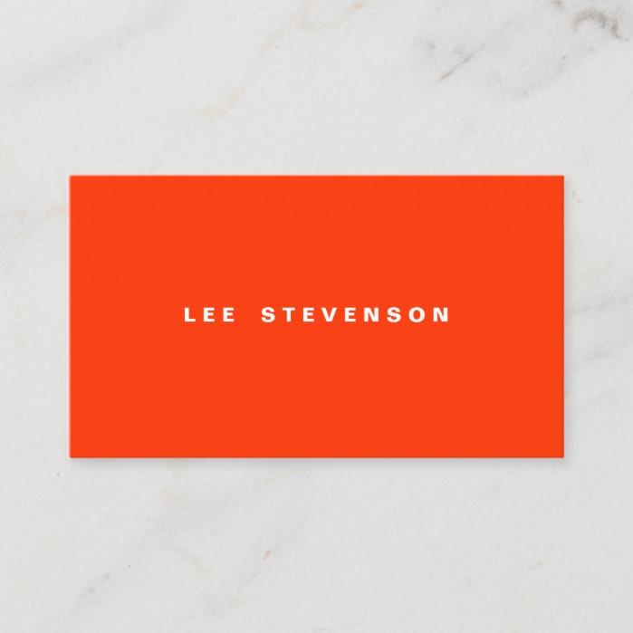 Eye Catching Modern Orange Minimalistic Business Card