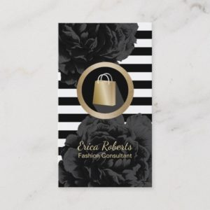 Fashion Consultant Shopper Modern Stripes Floral Business Card
