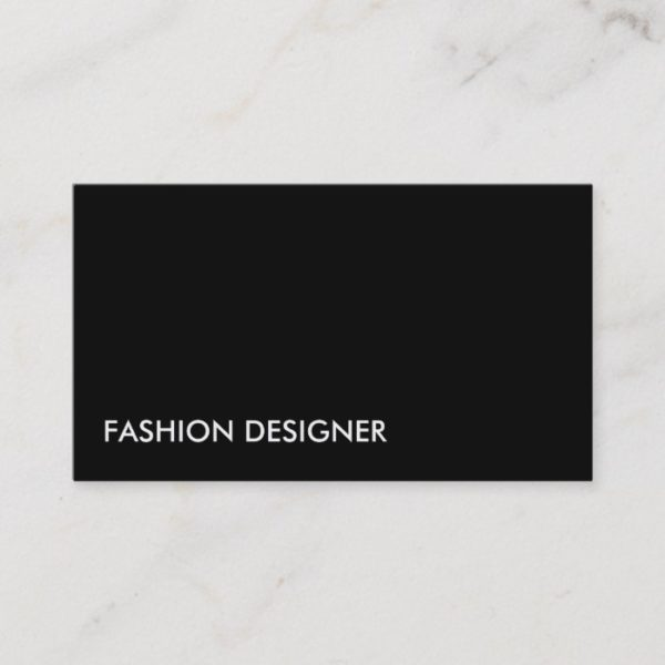 Fashion Designer Elegant Professional Simple Black Business Card