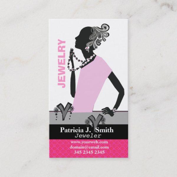 Fashion Jewelry Model Figure Pink Lady Business Card