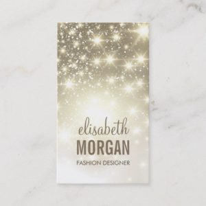 Fashion Stylish - Shiny Sparkles with Gold Glitter Business Card