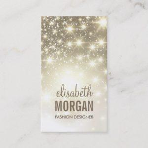 Fashion Stylish - Shiny Sparkles with Gold Glitter Business Card