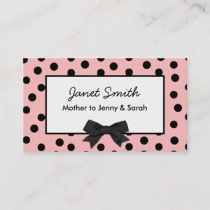 Fashionable Pink and Black Polka Dot Mommy Card