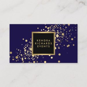 Faux Gold Confetti on Modern Blue Business Card