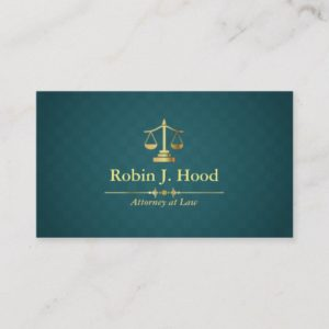 Faux Gold Libra Dark Green Rhombus Lawyer Business Card