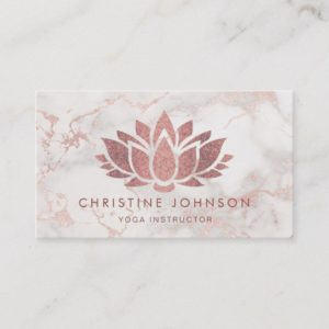 faux rose gold glitter lotus flower on marble business card