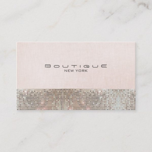 Faux Sequins and Linen Cute Pink Chic Boutique Business Card