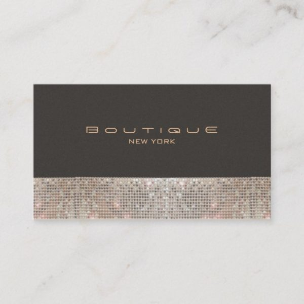 FAUX Sparkling Sequins and Suede Fashion Boutique Business Card