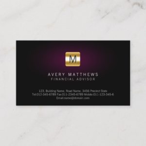 Financial Advisor Elegant MaroonGlow Gold Monogram Business Card