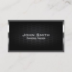 Fitness Personal Trainer Modern Metal Business Card