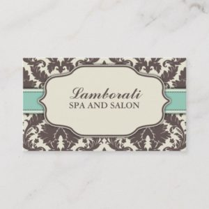 Floral Pattern Damask Elegant Classy Modern Retro Business Card