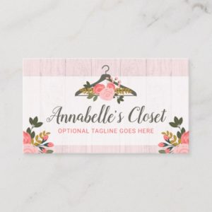 Floral Rose Clothes Hanger Closet Fashion Boutique Business Card