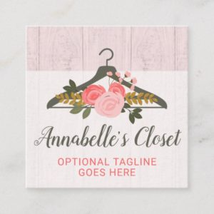 Floral Rose Clothes Hanger Closet Fashion Boutique Square Business Card