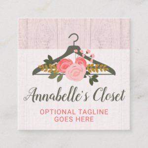 Floral Rose Clothes Hanger Closet Fashion Boutique Square Business Card