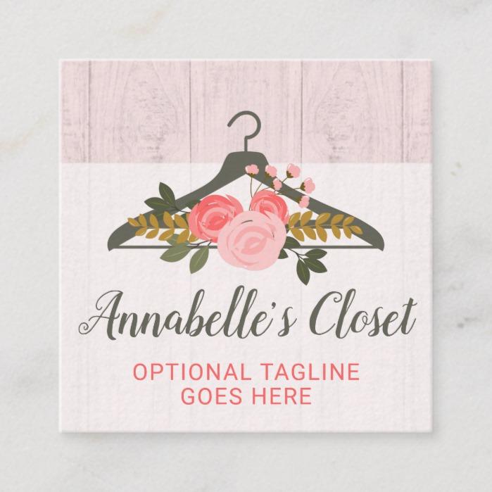 Floral Rose Clothes Hanger Closet Fashion Boutique Square Business Card Business Card Branding