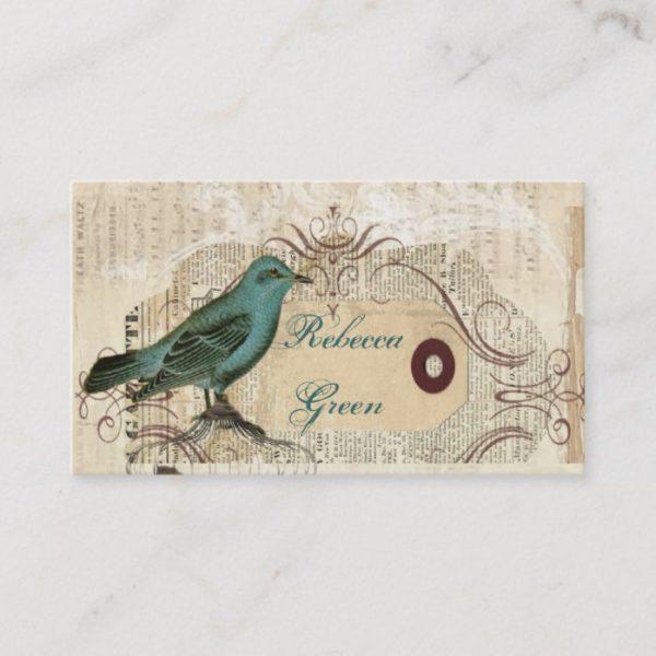 french country botanical bird paris fashion business card