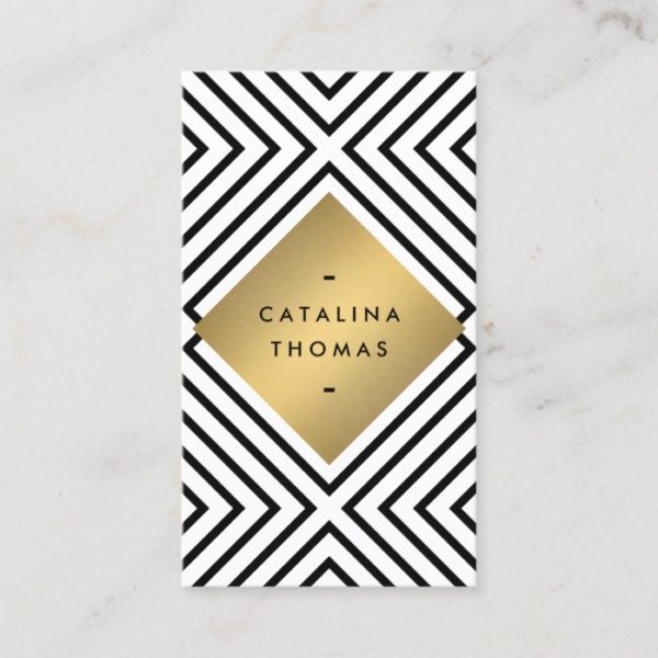 Geometric Mod Bold Black and White Pattern Business Card