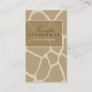 Giraffe Print Designer Business Card :: Beige
