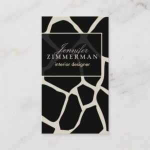 Giraffe Print Designer Business Card :: Black