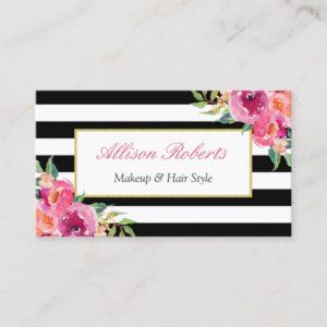 Girly Fuchsia Floral Makeup Artist Beauty Salon Business Card