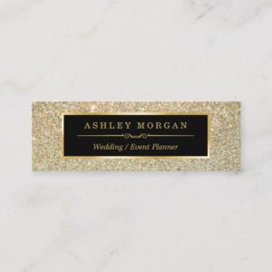 Girly Stylish and Fashion Beauty Gold Glitter Mini Business Card