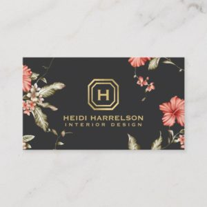 Glam Box Logo Monogram Vintage Floral Designer Business Card