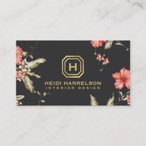 Glam Box Logo Monogram Vintage Floral Designer Business Card