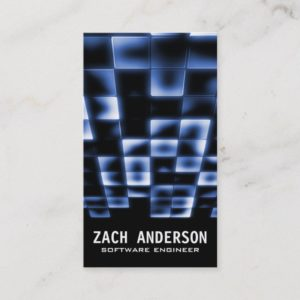 Glowing Square Mosaic - Blue Business Card